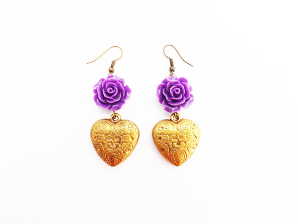 Western Inspired Purple Flower /  Rose and  Etched Antique  brass  Heart   Earrings
