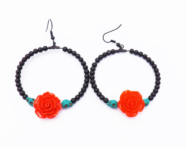 Sugar Skulls Black Day of the Dead Loop Earrings / Flower and skull earrings