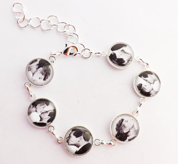 Lucy and Ricky Kissing Wedding Glass covered  Bezel Bracelet / Vintage Wedding Bridesmaids gift