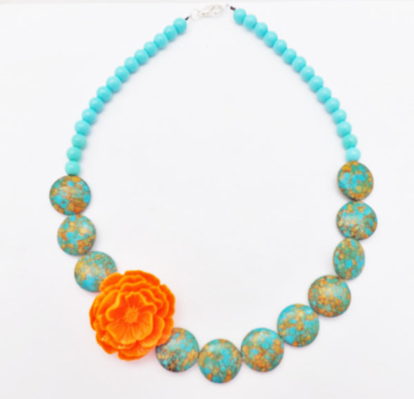 Resin Rose and Howlite Stone Necklace /  Wedding Mexican Boho Necklace