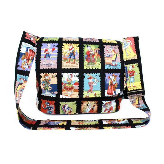 Day of the Dead Loteria Inspired Mexican Messenger Bag