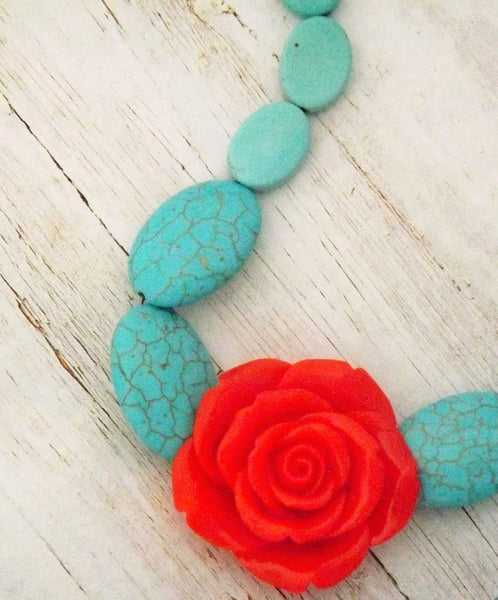 Red Resin Rose and Howlite Stone Necklace /  Wedding Mexican Boho Necklace