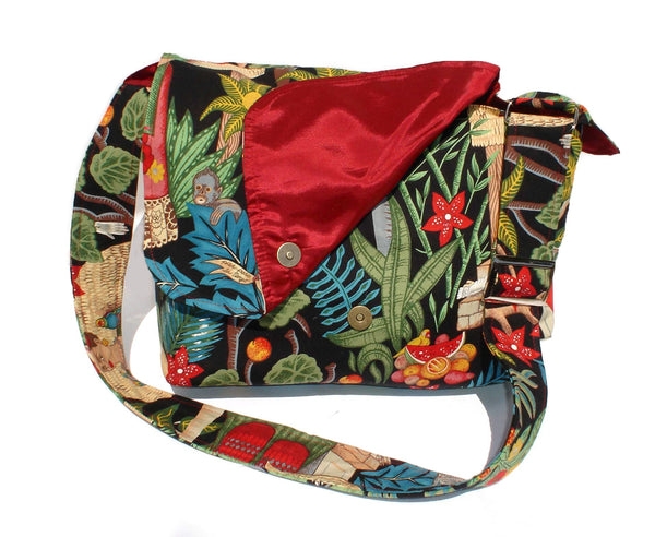"""What a Square"" Frida In the Jungle Black Messenger Bag"