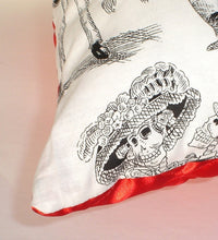 Load image into Gallery viewer, Catrines & Catrinas White & Black Throw Pillow, close up