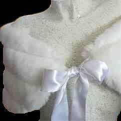 White or Ivory  FAUX Mink Fur Bridal Wrap Shawl Capelet