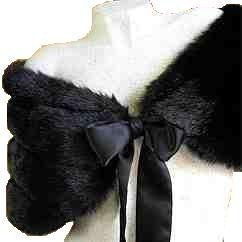 BLACK FAUX Mink FUR Bridal Wrap Shawl Capelet