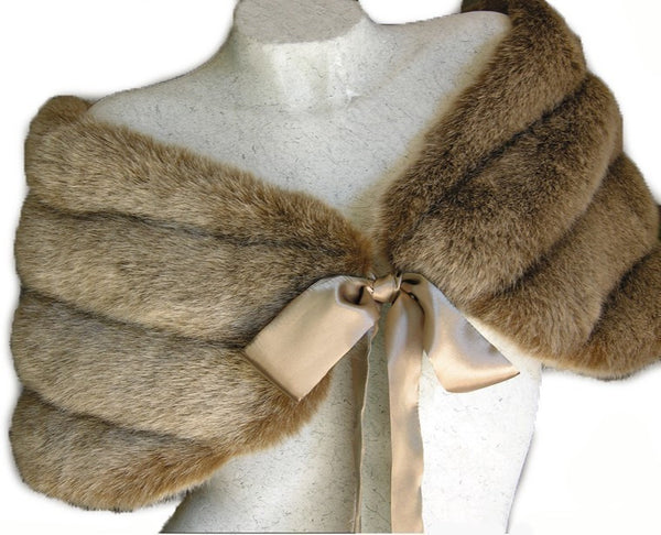 Light Brown Faux Mink Fur Bridal Wrap Shawl Capelet