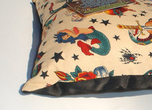 Load image into Gallery viewer, Tattoo Art Beige Throw Pillow, close up