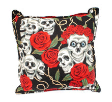 Load image into Gallery viewer, Skulls & Roses Tattoo Art Black Throw Pillow, front