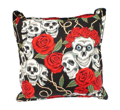 Skulls & Roses Tattoo Art Black Throw Pillow, front