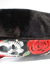 Load image into Gallery viewer, Skulls & Roses Tattoo Art Black Throw Pillow, close up