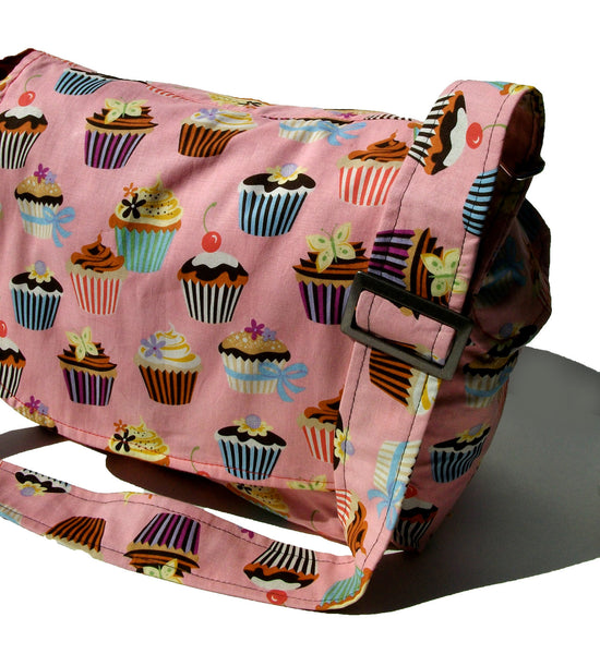 """What a Square"" Cupcakes Pink Messenger Bag"