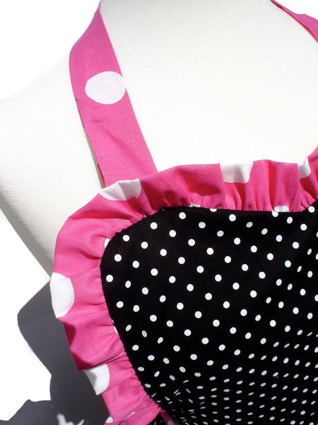 """Whisked Away"" Pink and Black Polka Dot Apron"