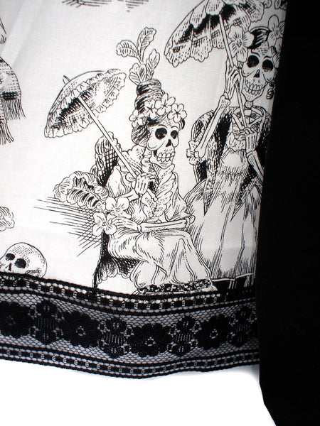 """Twist-Her"" Black and White Day of the Dead Skirt"