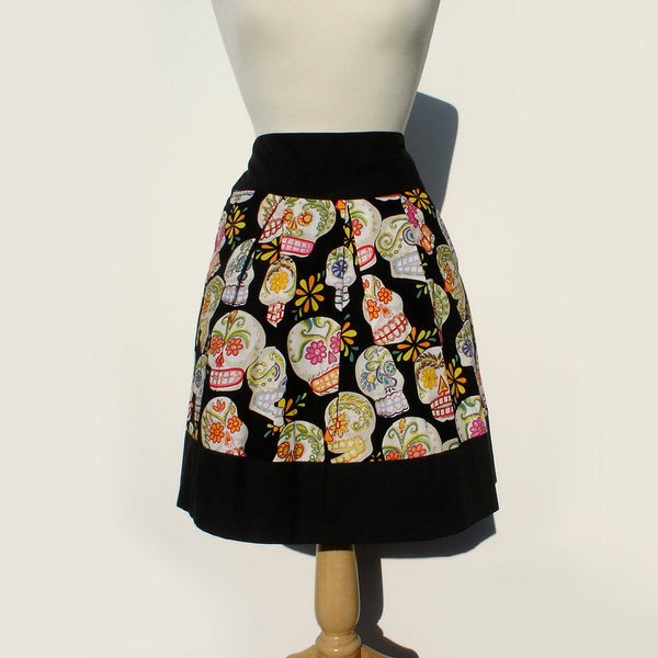 """Riding Shotgun"" Sugar Skulls Black Skirt"