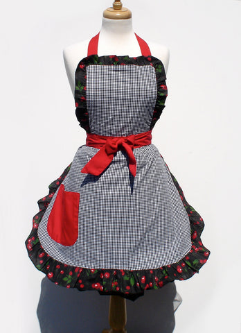 """Butter Me Up"" Gingham and Cherries Apron"