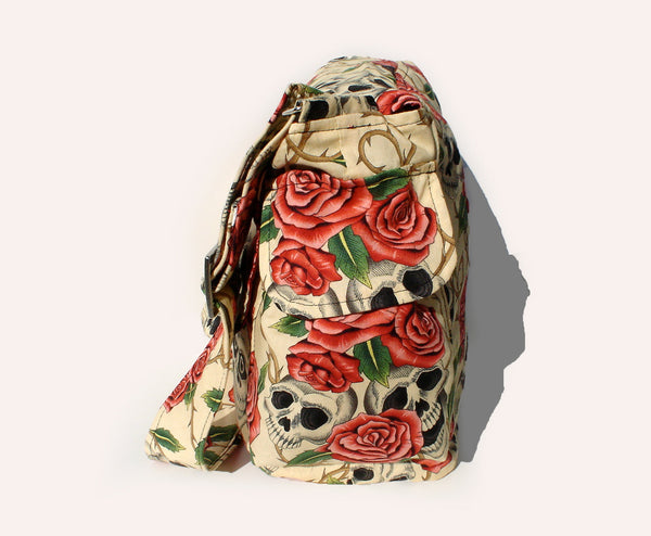 """What a Square"" Skulls, Roses, & Thorns Tan Messenger Bag"