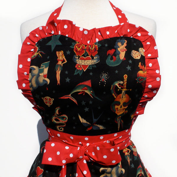 """Whisked Away"" Black Tattoo Art Apron"