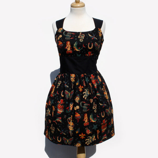 """Riding Shotgun"" Black Tattoo Art Rockabilly Pinup Dress"