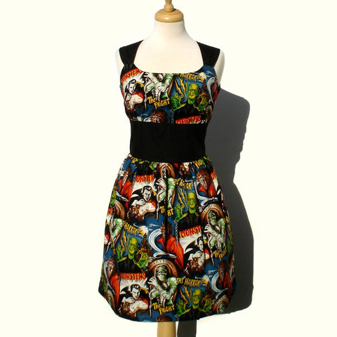 """Riding Shotgun"" Hollywood  Monsters Rockabilly Pinup Dress"