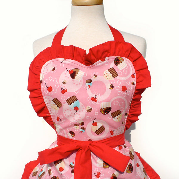 """Whisked Away"" Cupcakes and Cherries Apron"