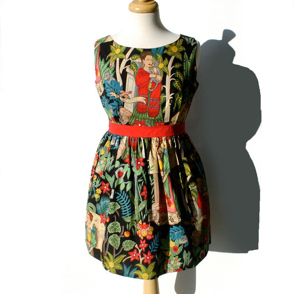 """Head Over Wheels"" Frida in the Jungle Black Dress"
