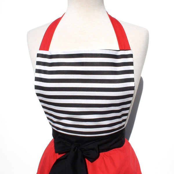 """Butter Me Up"" Horizontal Stripes and Red Apron"