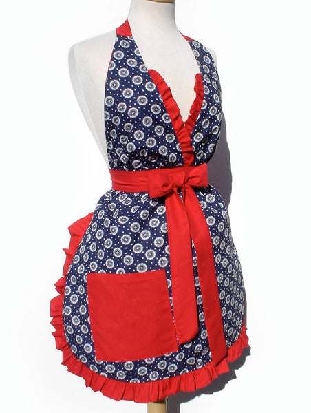 """Just Peachy"" Blue Floral Country Apron"