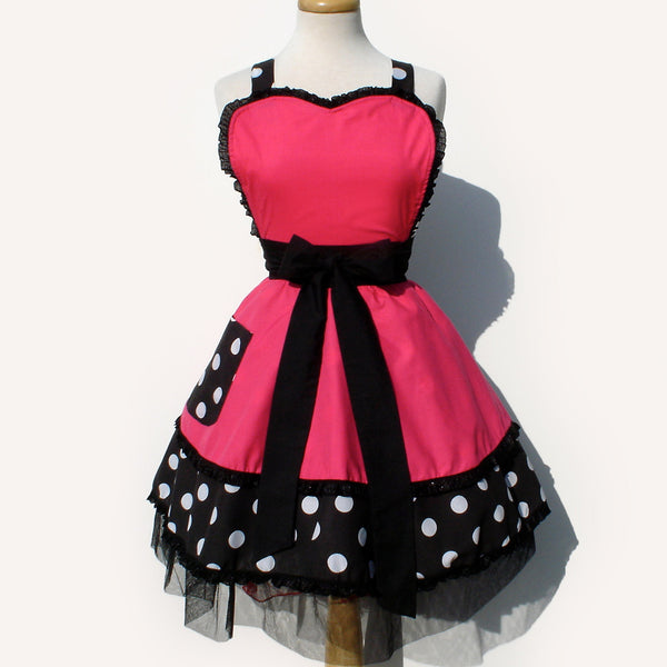 """Double Dipper"" Pink and Polka Dots Apron"