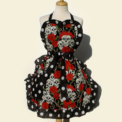 """Whisked Away"" Black Skulls, Thorns, and Roses Apron"