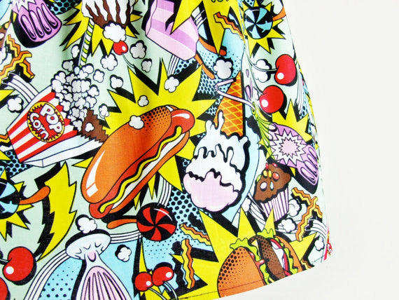 """Lindy"" Pop Art Food Skirt"