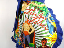 "Load image into Gallery viewer, Apron on mannequin, Close up of fabric, ""Lucha Libre"""