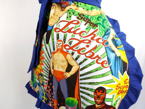 "Apron on mannequin, Close up of fabric, ""Lucha Libre"""