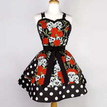 Load image into Gallery viewer, Black Skulls, Thorns, and Roses Apron on mannequin