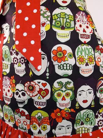 """Just Peachy"" Frida and Skulls Apron"