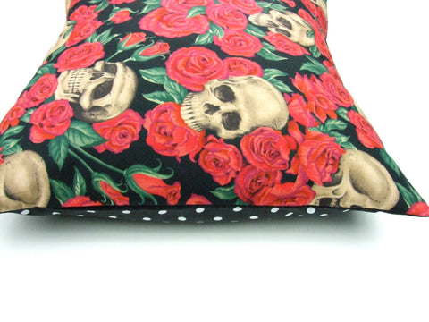 Black and Red  Skulls and Roses Pillow Cover Pillow Case 18 x 18
