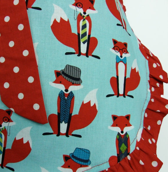 """Just Peachy"" Red and Blue Fox Apron"