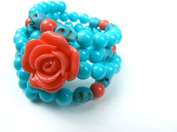 Aqua Beads Wrap Bracelet With Rose and Skulls
