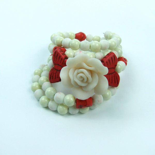 White Rose Butterfly Wrap Around Memory Bracelet