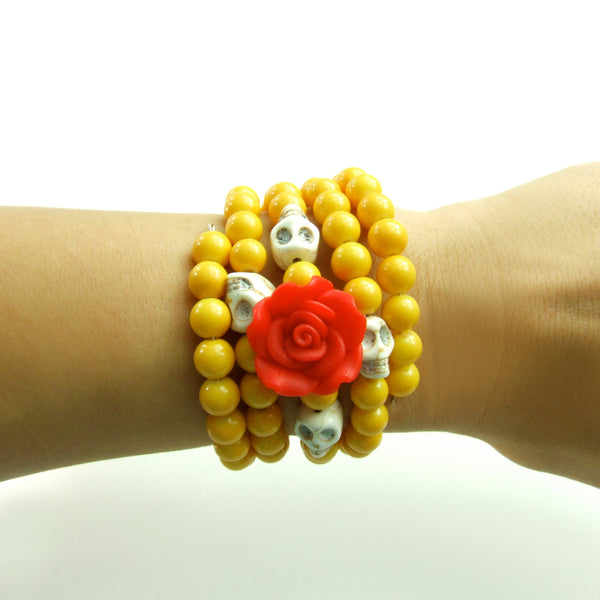 Red Rose, Skulls, and Yellow Wrap Bracelet