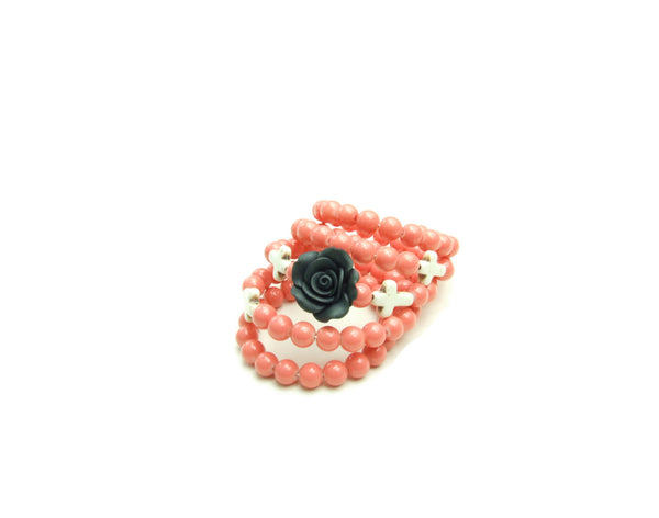 Peach Wrap Bracelet With Black Rose and White Crosses