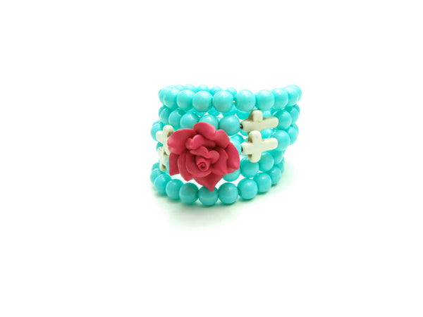 Red Rose, Crosses, and Turquoise Wrap Bracelet
