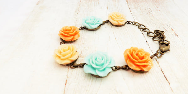 Peach, Mint Blue and Light Peach Flower Bracelet