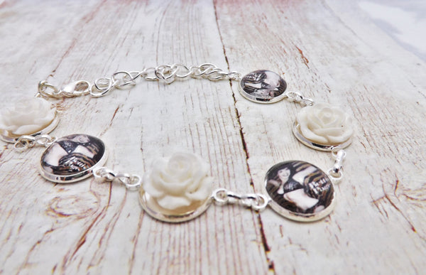 Pinup Bettie Page and Flowers Silver  Bracelet