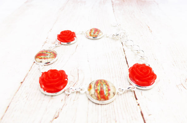 Guadalupe and Red Flowers Silver Bracelet
