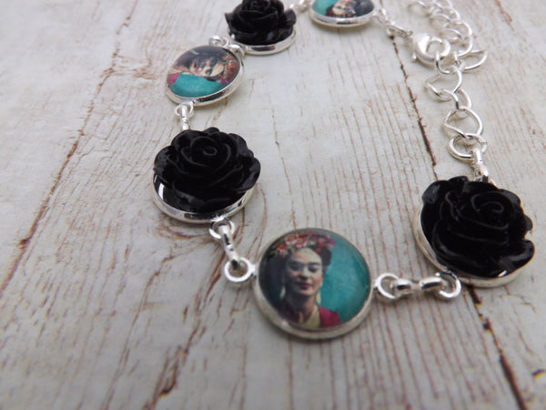 Frida Kahlo and Black Flowers Silver  Bracelet