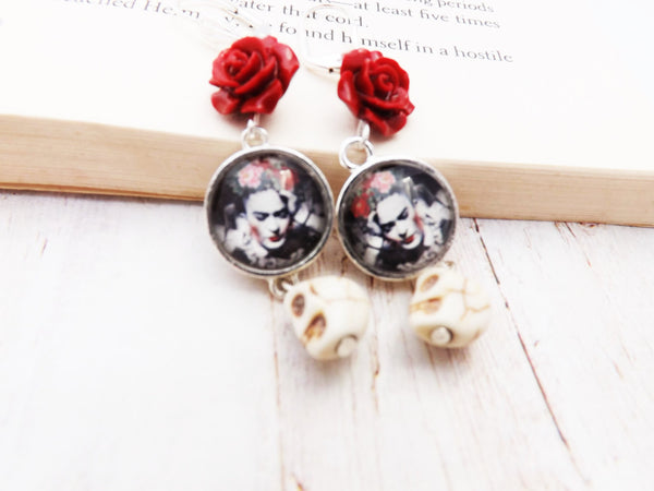 Frida Kahlo Day of the Dead Skull  and Red Flower Earrings / Dia de los Muertos