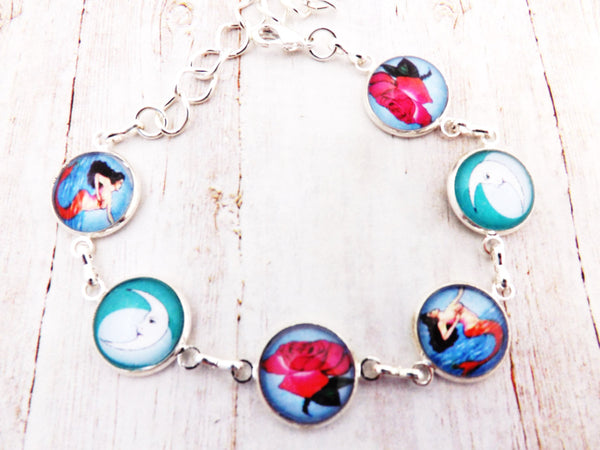 Mexican Loteria  Day of the Dead Silver Bracelet