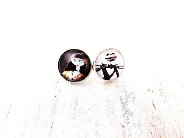 Nightmare Before Christmas Jack and Sally  Silver Setting Stud Earrings