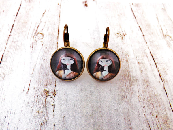 Sally Nightmare Before Christmas Antique Brass  Earrings